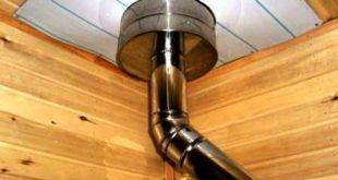 Монтаж дымовой трубы в потолок